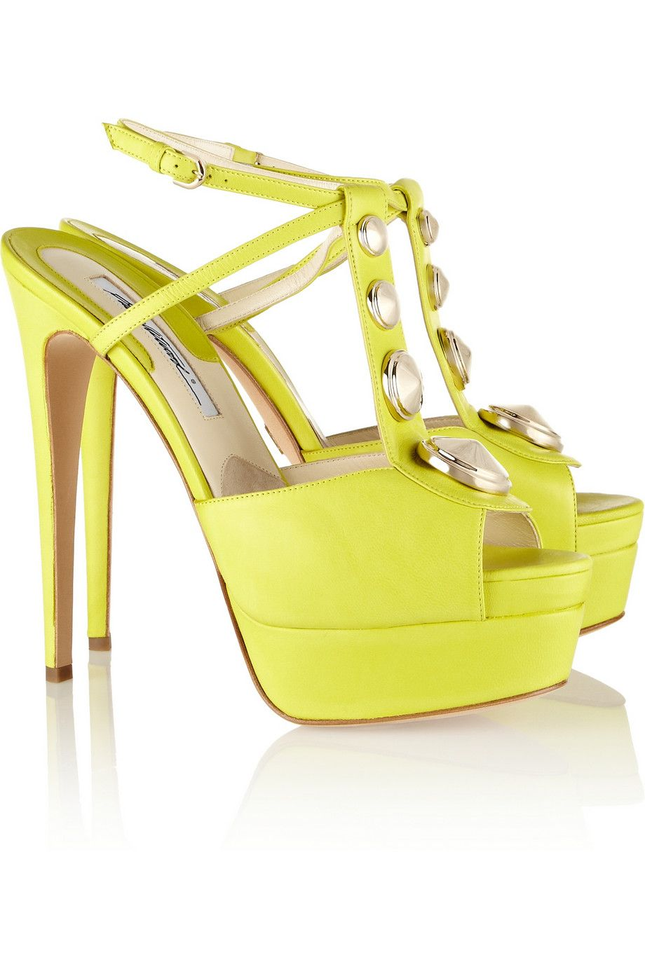 49251d12179 Brian Atwood Cliza Studded Suede and Leather Sandals in Yellow (Chartreuse)