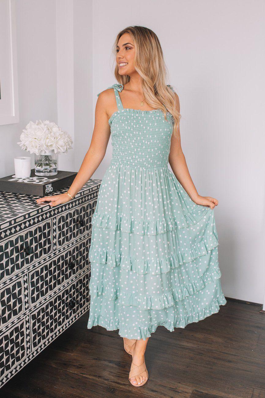 Germaine Dress Sage Spot In 2021 Dresses Clothes For Women Womens Dresses [ 1300 x 866 Pixel ]