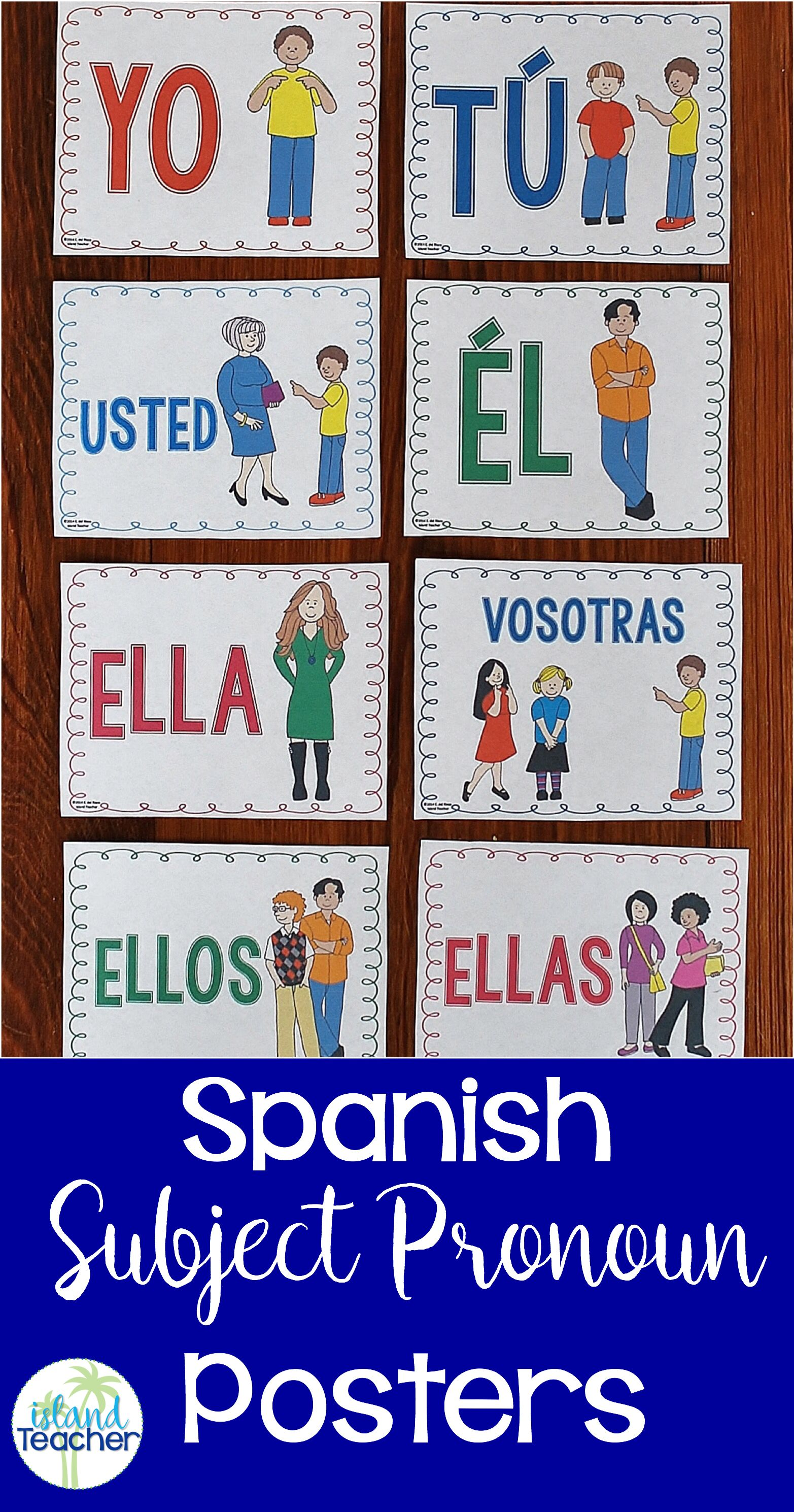 Poster In Spanish Spanish Subject Pronoun Posters Island Teacher Resources