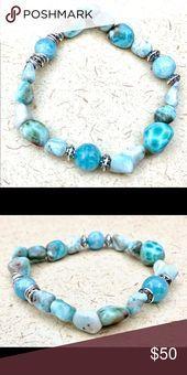 Larimar Stone Bracelet Elegant Blue Larimar and Aquamarine Stones Bracelet Han Larimar Stone Bracelet Elegant Blue Larimar and Aquamarine Stones Bracelet Han