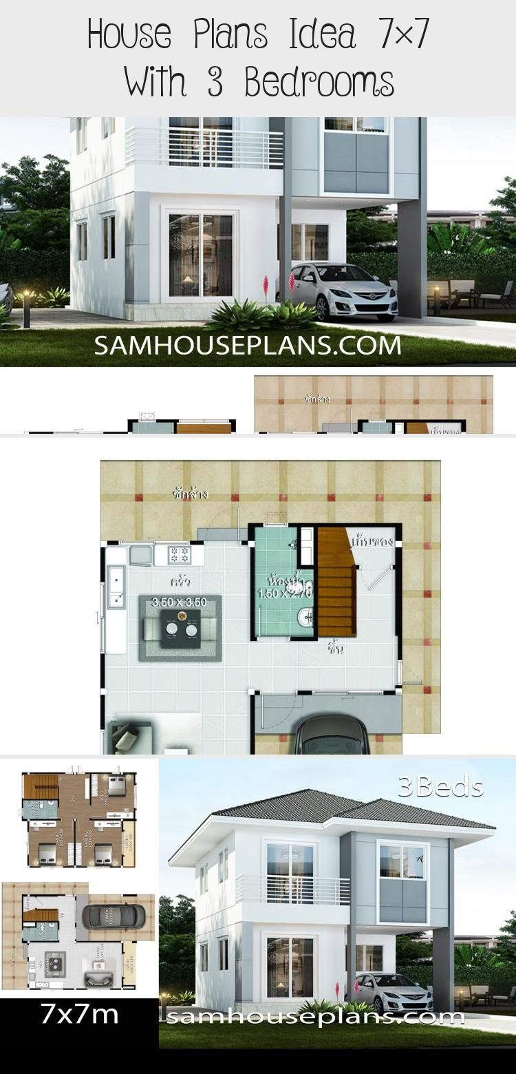 House Plans Idea 7 7 With 3 Bedrooms In 2020 House Plans Pool House Plans Country House Plans