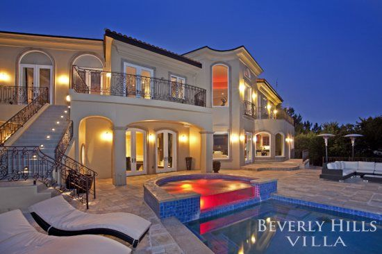Description : Sleeps: 12, Bedrooms: 5, Bathrooms: 8  Located in the heart of Beverly Hills, this immaculate 12,700 square foot Mediterranean Villa located on Shangri La Drive in Beverly Hills boasts incredible views, an infinity pool and spa, and designer furnishings and finishings throughout.  * Master Bedroom: King Bed * 2nd Bedroom: King Bed * 3rd Bedroom: Two Queens * 4th Bedroom / Office: Full Size Pull Out Couch * 5th Bedroom: Queen Bed * 6th Bedroom / Maid's Room: Setup for Maid Only