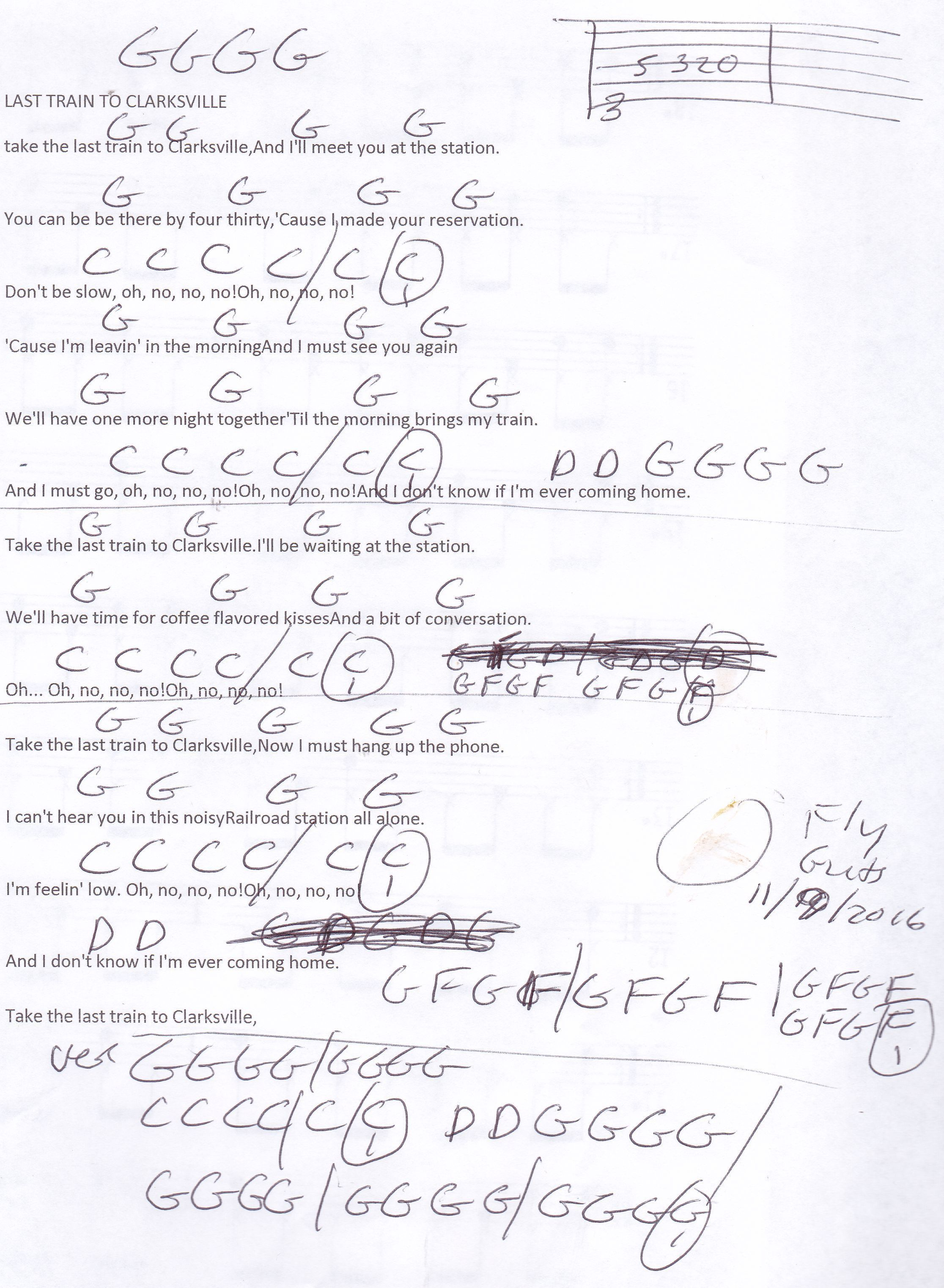 Last Train To Clarksville Monkees Guitar Chord Chart Learning To
