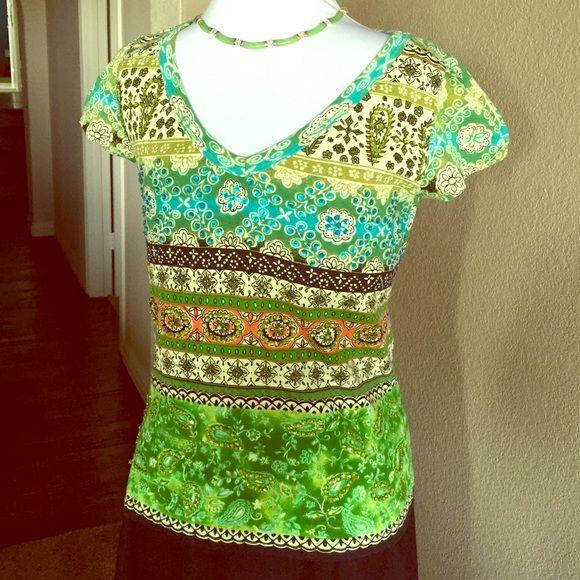 100% Cotton Sequined V-Neck With Batik Pattern