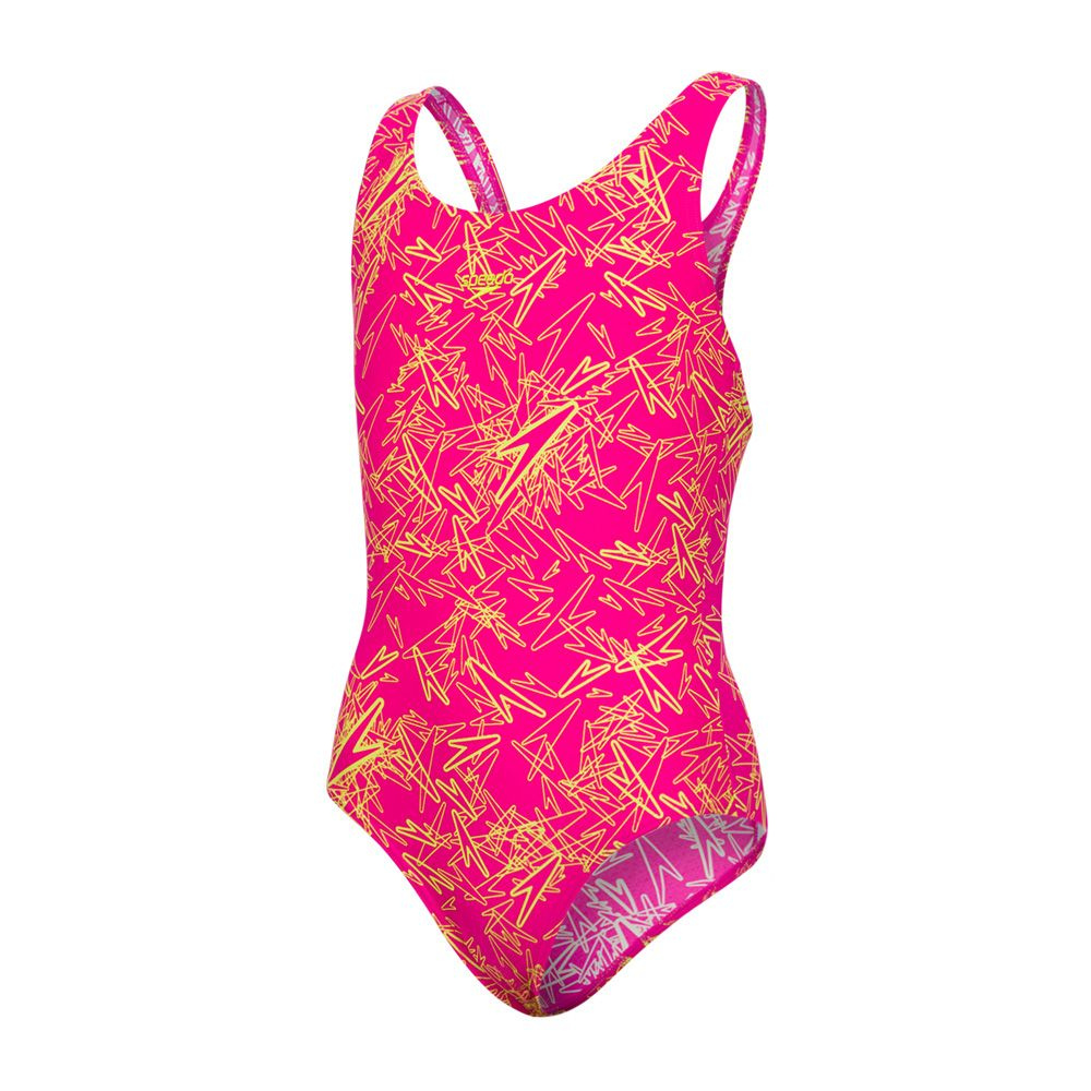 80d3b365c68 Speedo Boom Allover Splashback in Pink/Green | Girls Swimsuits ...