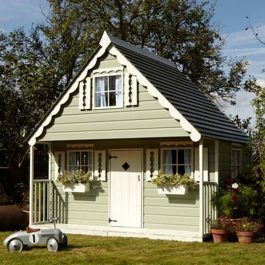 Large children 39 s playhouse wooden wendy house garden for Wooden wendy house ideas