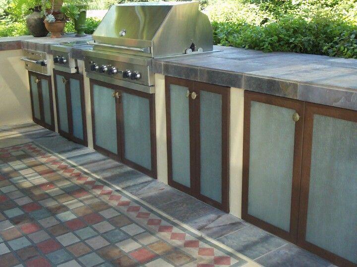 Hand Hammered Metal Doors W Glass And Stone Pulls Metal Door Outdoor Decor Outdoor Storage