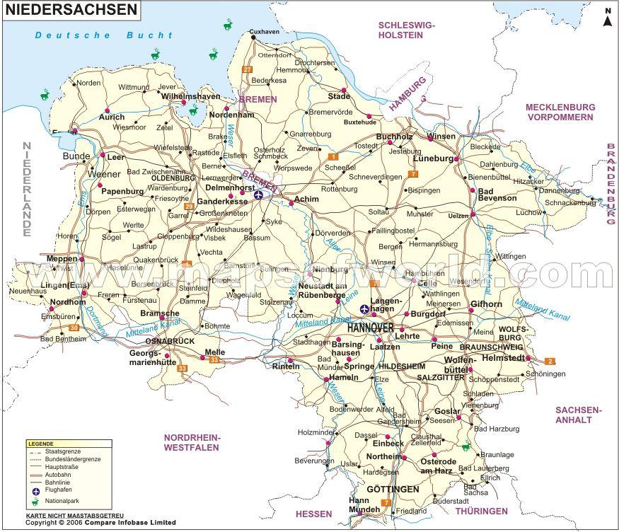 landkarte niedersachsen dies und das karte deutschland niedersachsen und deutschlandkarte. Black Bedroom Furniture Sets. Home Design Ideas