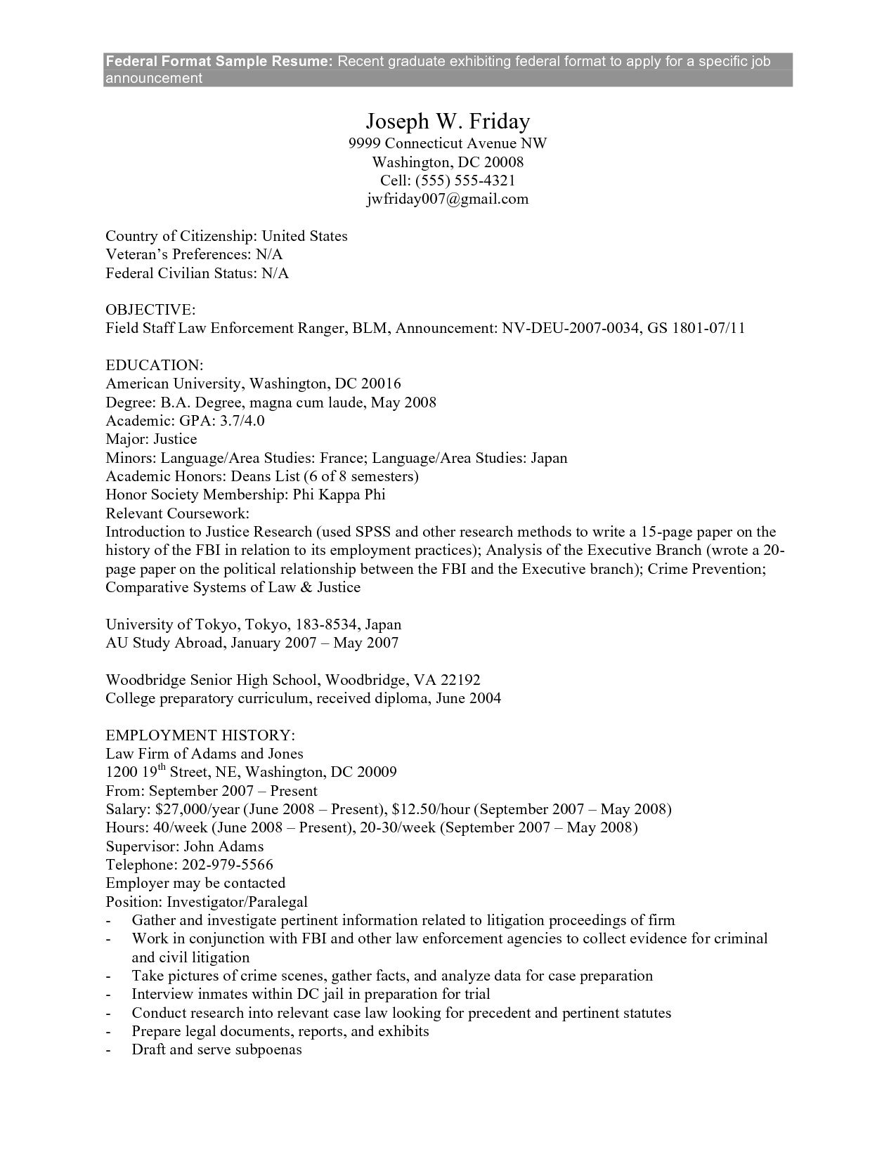federal government resume exle federal government