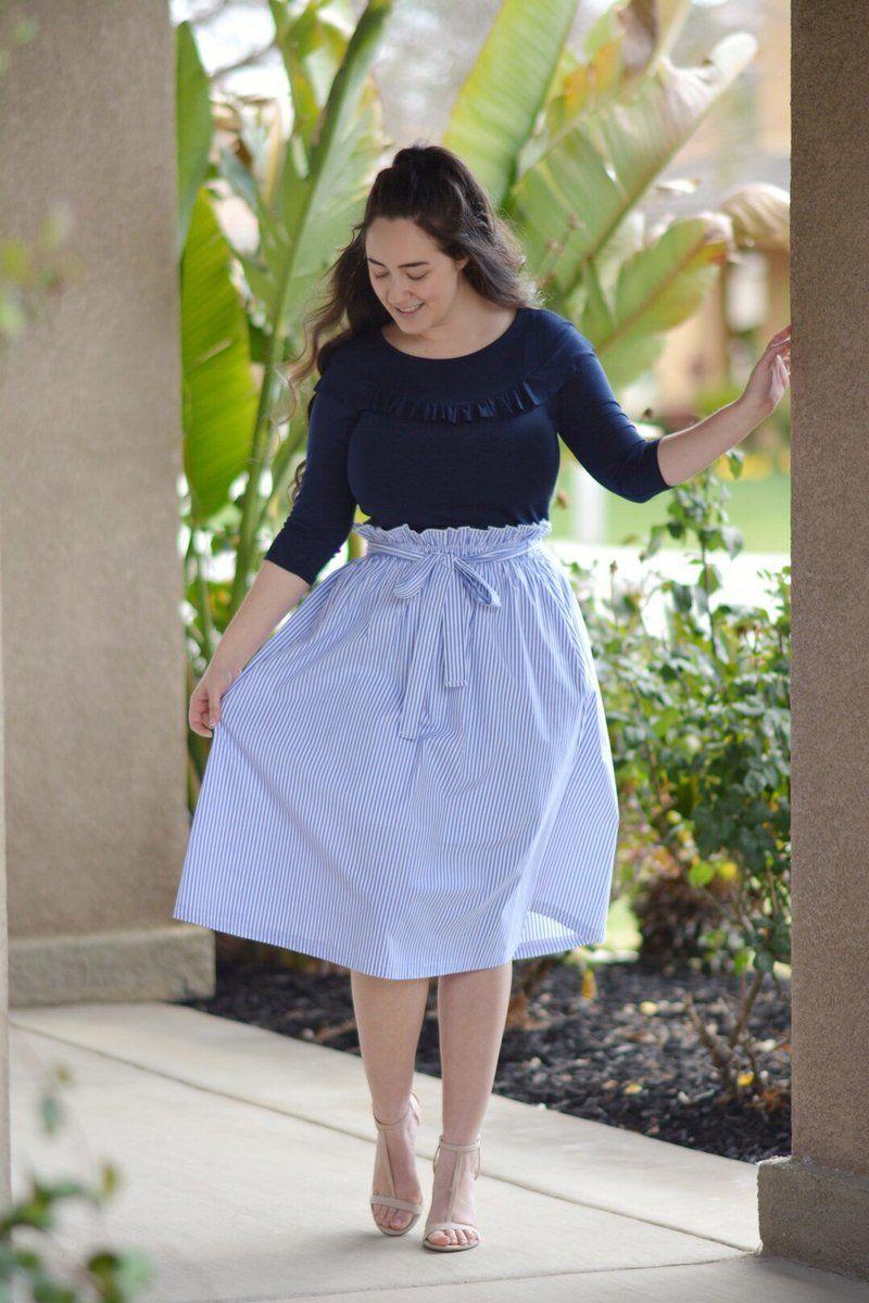 Emily Striped Blue Full Skirt #fullskirtoutfit