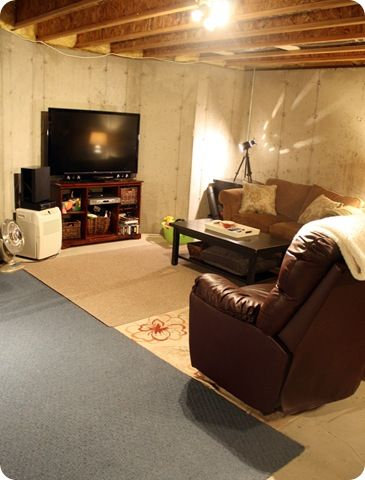 underground family room  cheap basement ideas unfinished