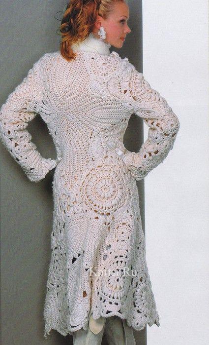 abrigo de lana pura de crochet irlandés | Crochet | Pinterest ...