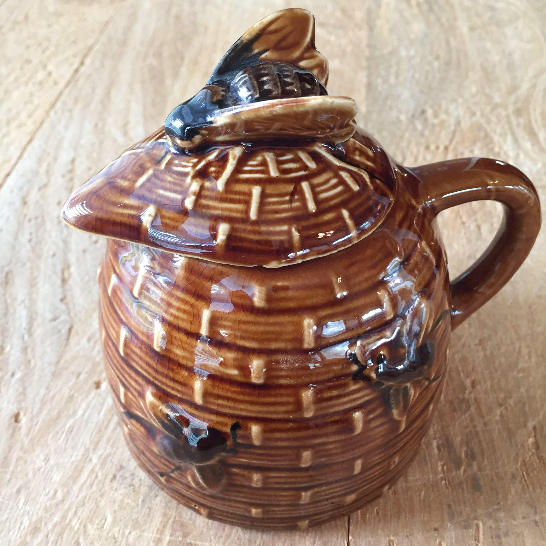 Vintage Ceramic Bee Skep Honey Pot Brown Glazed Hive Bees