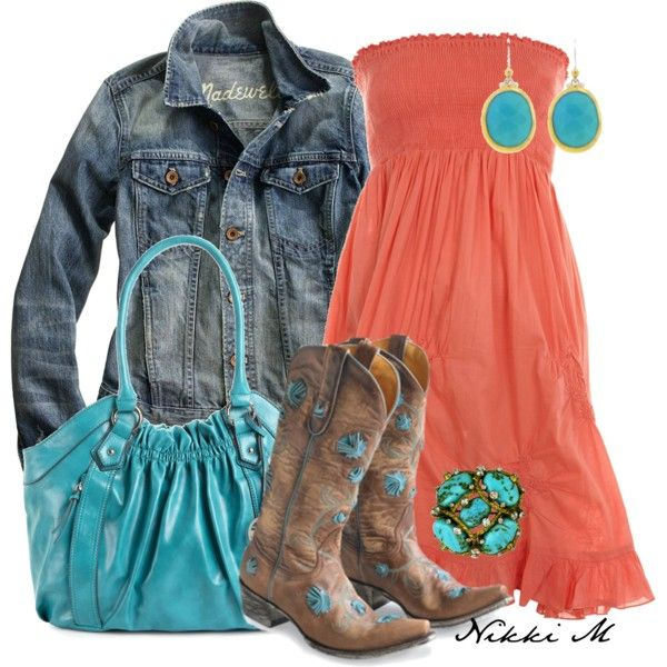 Coral and Blue cowgirl