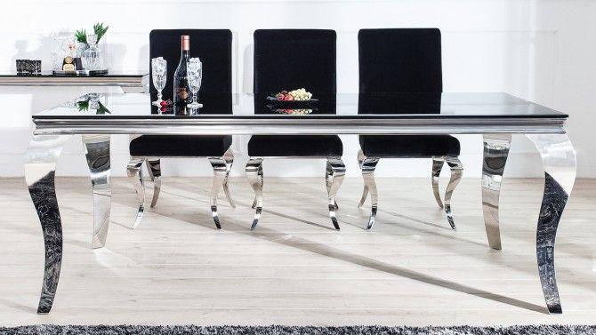 Table à manger rectangulaire baroque plateau noir Zita