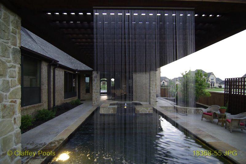 Pergola With Rain Curtain Covered Pool