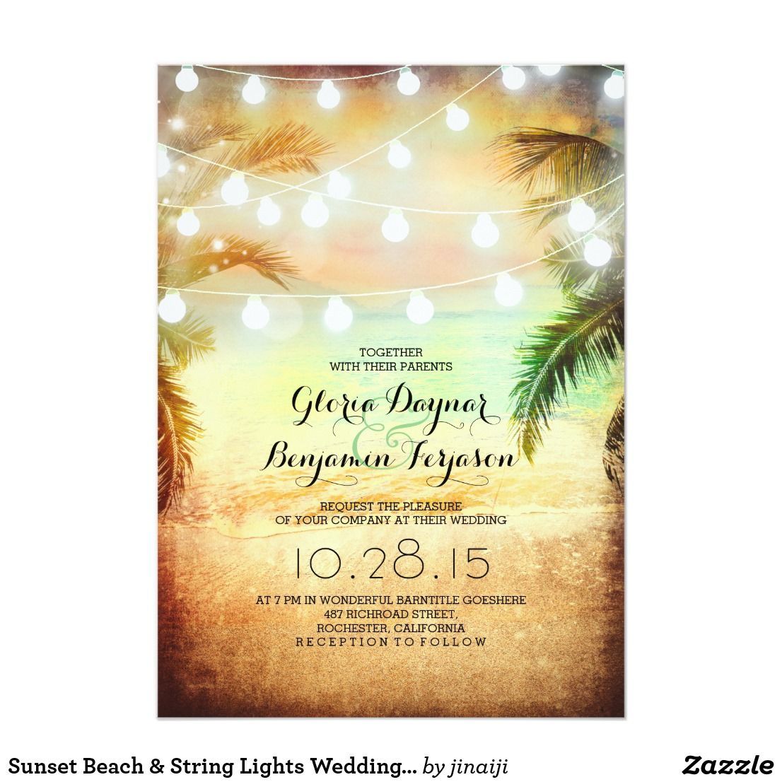 Sunset Beach & String Lights Wedding Invitation | Beach wedding ...