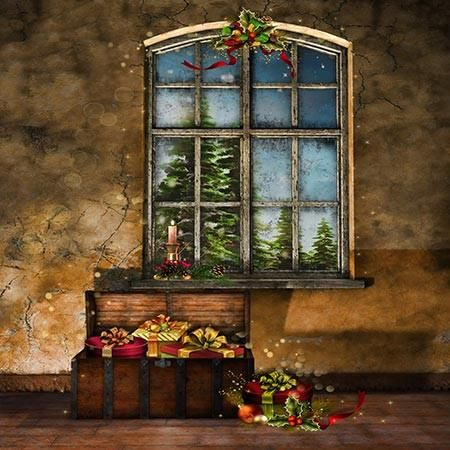 5307 Christmas Presents Indoor Window Backdrop - Backdrop Outlet