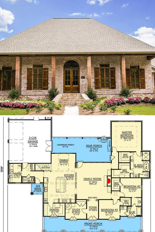 3 Bedroom Single Story Arcadian Home With A Bonus Floor Plan Floor Plan In 2020 Brick House Plans Craftsman House Plans Home Building Design