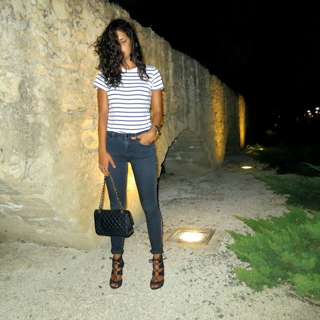 NEW POST ON A FASHIONFREEFALL: Night shots: Stripes and laces.
