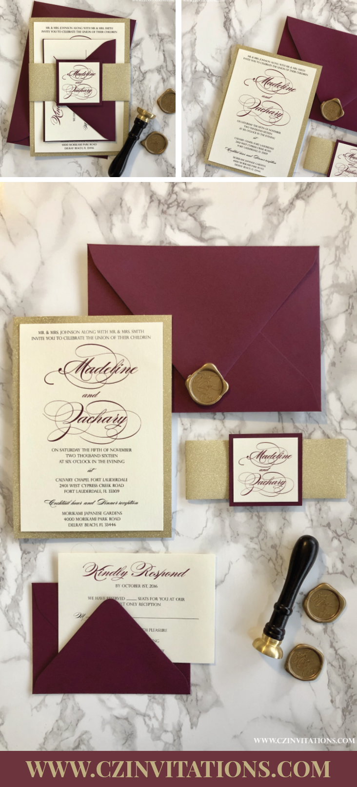 9b085032bd527 This wedding invitation set is stunning and elegant! The Burgundy  complements the gold glitter perfectly, adding a unique feel to the whole  set.