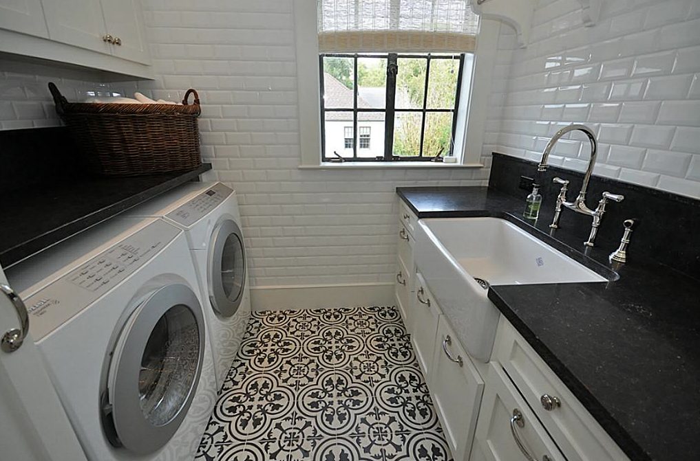 Mosaic Tile On Laundry Room Floor Fun To Change Up Flooring In