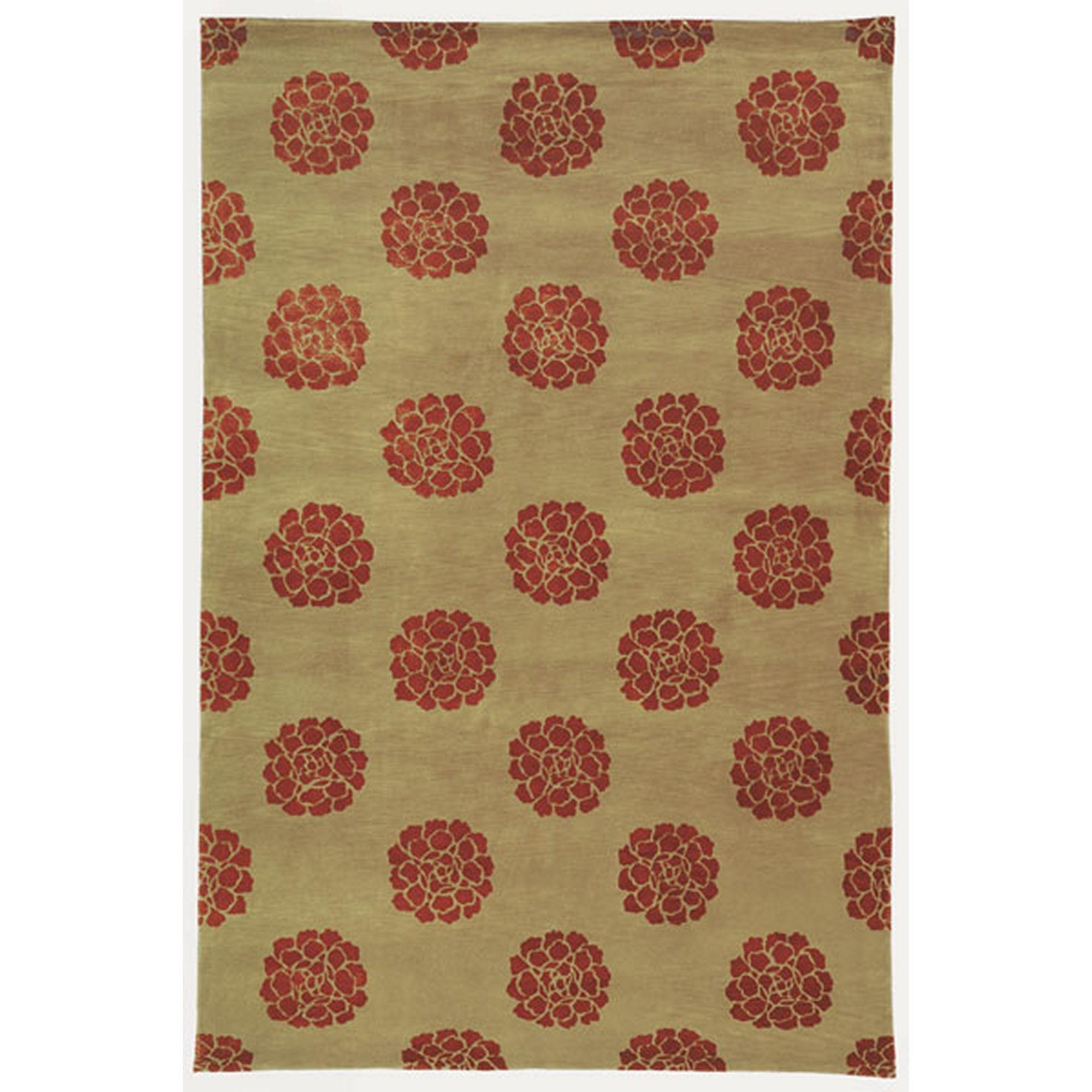 Martha Stewart Medallions Garnet Silk Wool Rug 3 9 x 5 9 Red
