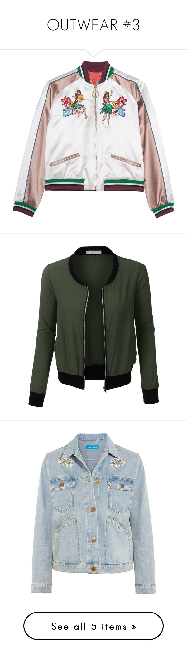"""""""OUTWEAR #3"""" by alinnas ❤ liked on Polyvore featuring outerwear, jackets, coats, coats & jackets, cropped jacket, 3/4 sleeve jacket, cropped bomber jacket, slim fit jacket, blouson jacket and flight jacket"""