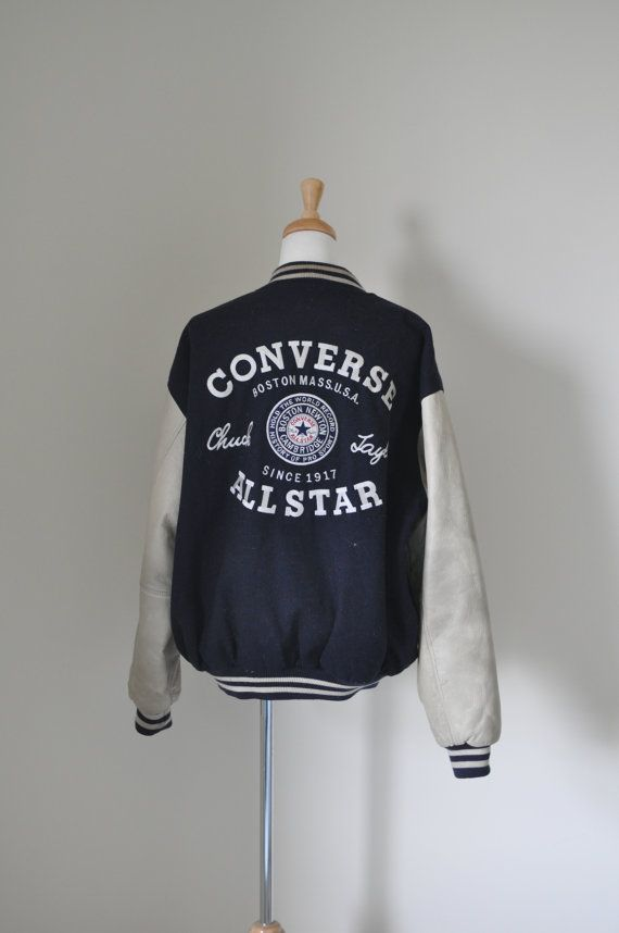 d452fbcf vintage 90's men CONVERSE All Star chuck patch leather wool embroidered  varsity/letterman bomber/jacket/coat, vrev, retro, hip hop