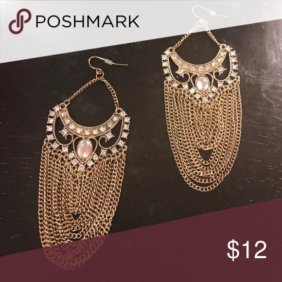 Rhinestone and gold tone chandelier earrings! Earrings Jewelry Earrings
