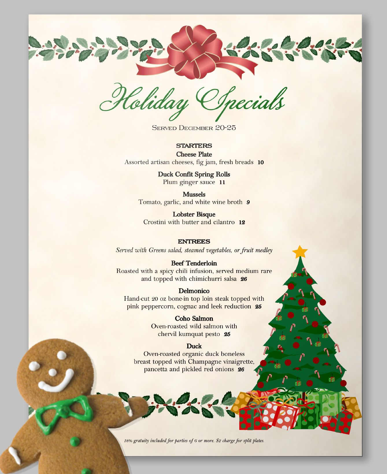 10 out of 10 gingerbread people prefer a holly jolly menu template