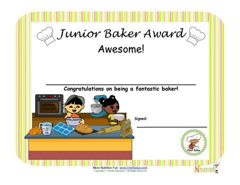 Baking with kids is a great way to encourage children to learn - cooking certificate template