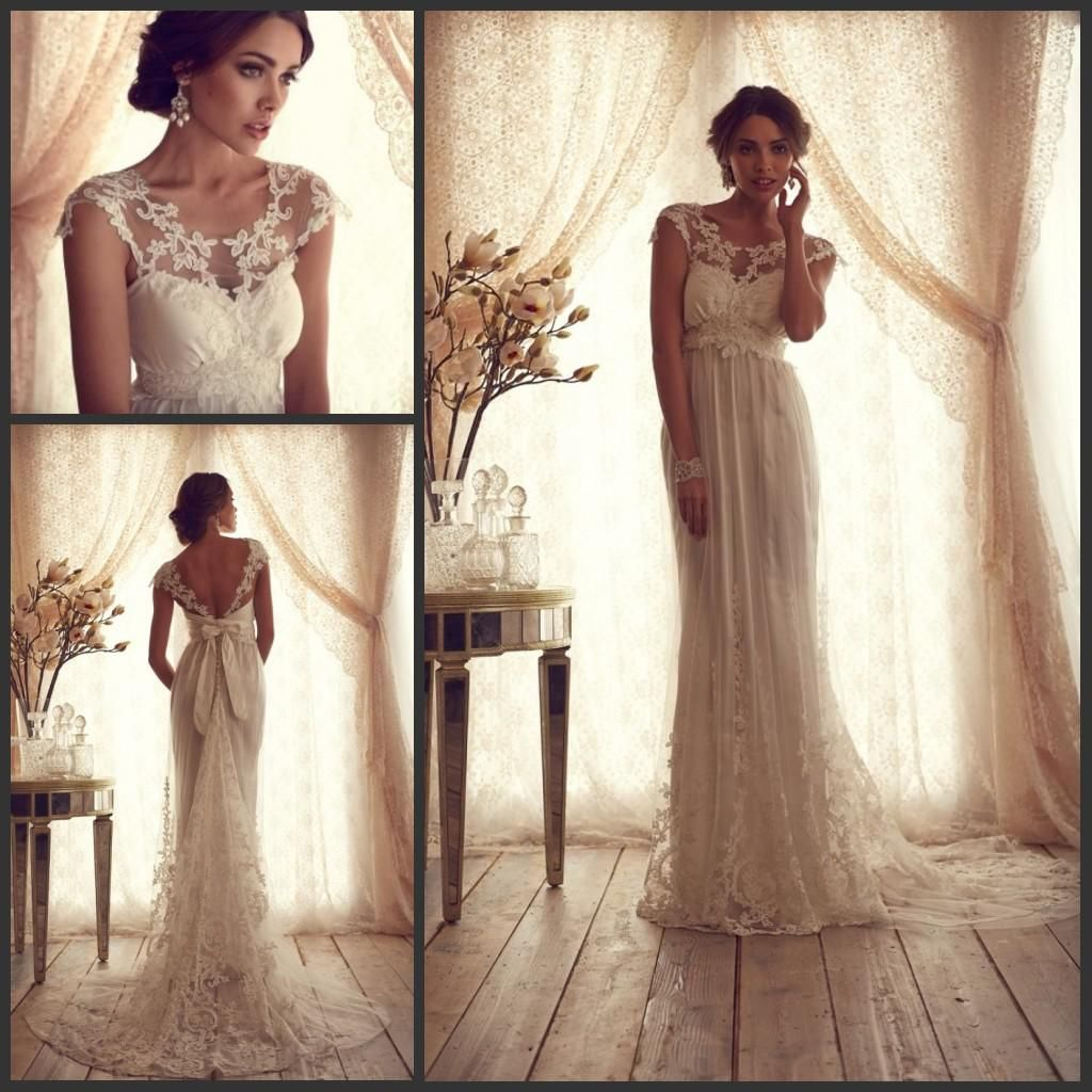 Cheap vintage wedding dresses ivory and champagne half sleeves