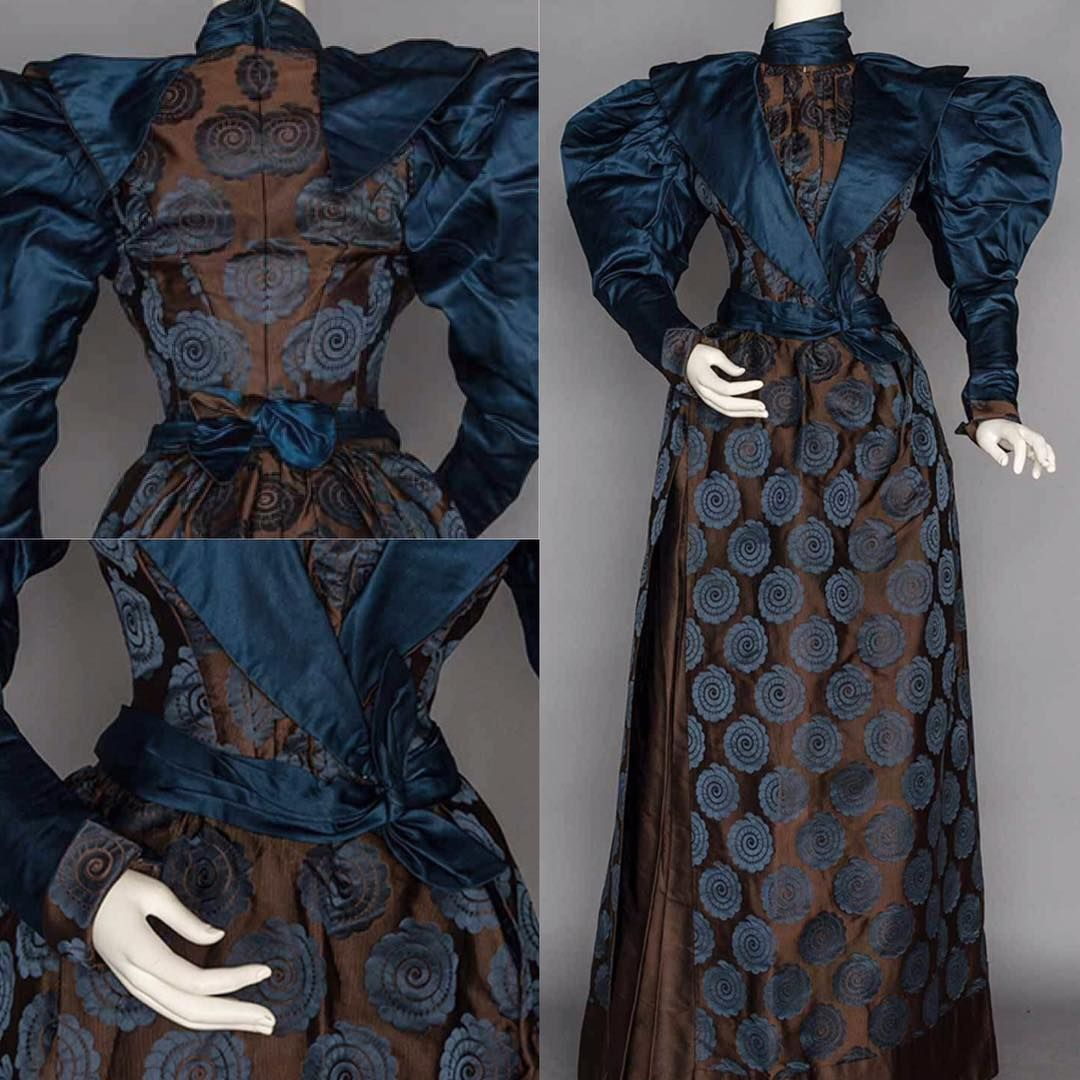 This week's 'Frock Friday' features a silk brocade afternoon dress from 1895. It has beautiful gigot sleeves & an interesting brocade print of blue spiral rondels. From Augusta Auctions.