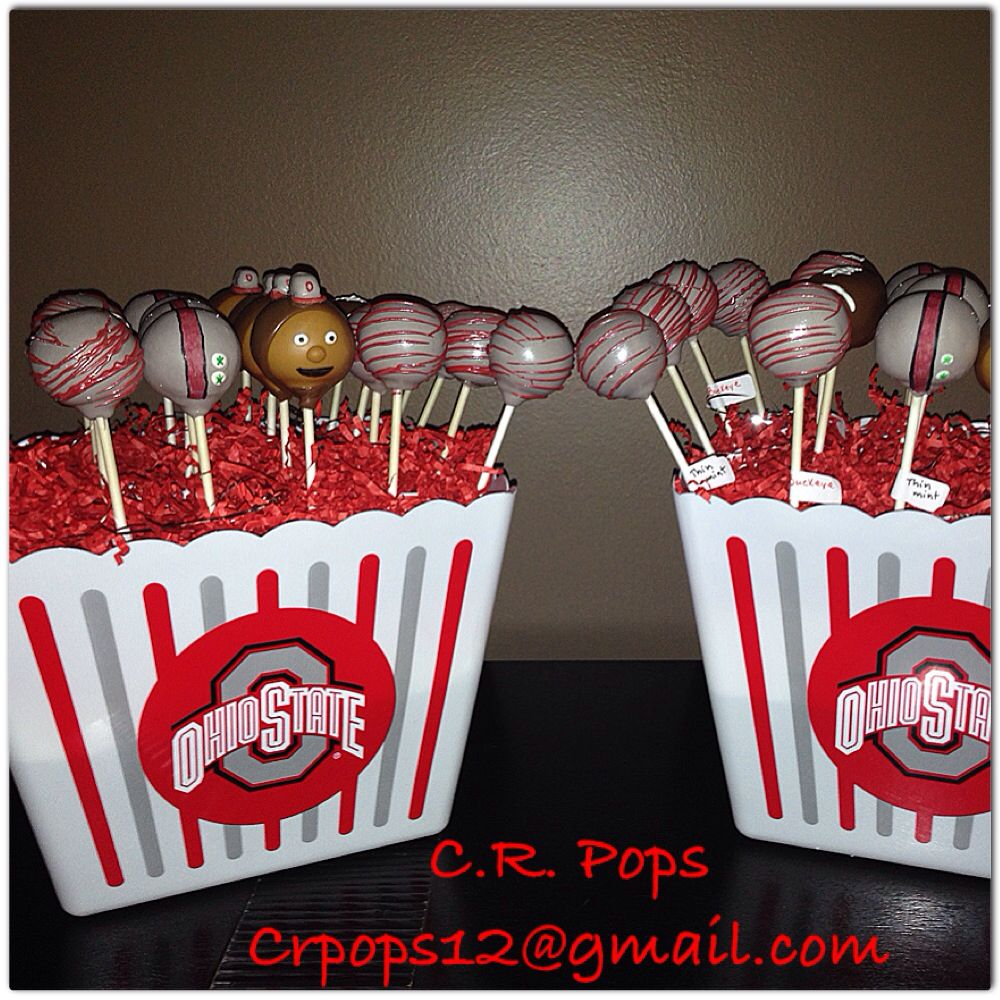 Ohio State cake pop bouquet assorted cake flavors: thin mint, strawberry, lemon, and buckeye! Created by: C.R. Pops Columbus, Ohio Facebook page C.R. Pops #cakepopbouquet