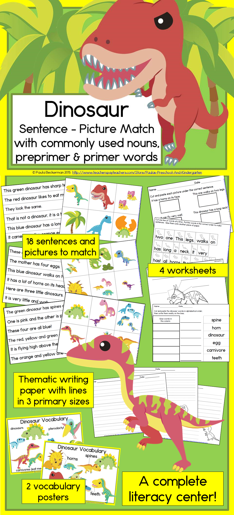 Dinosaur Sentence Picture Match Reading Center   Kindergarten reading  activities [ 2112 x 960 Pixel ]