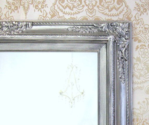 MANY SIZES AVAILABLE Silver Framed Bathroom Mirror Framed Baroque ...
