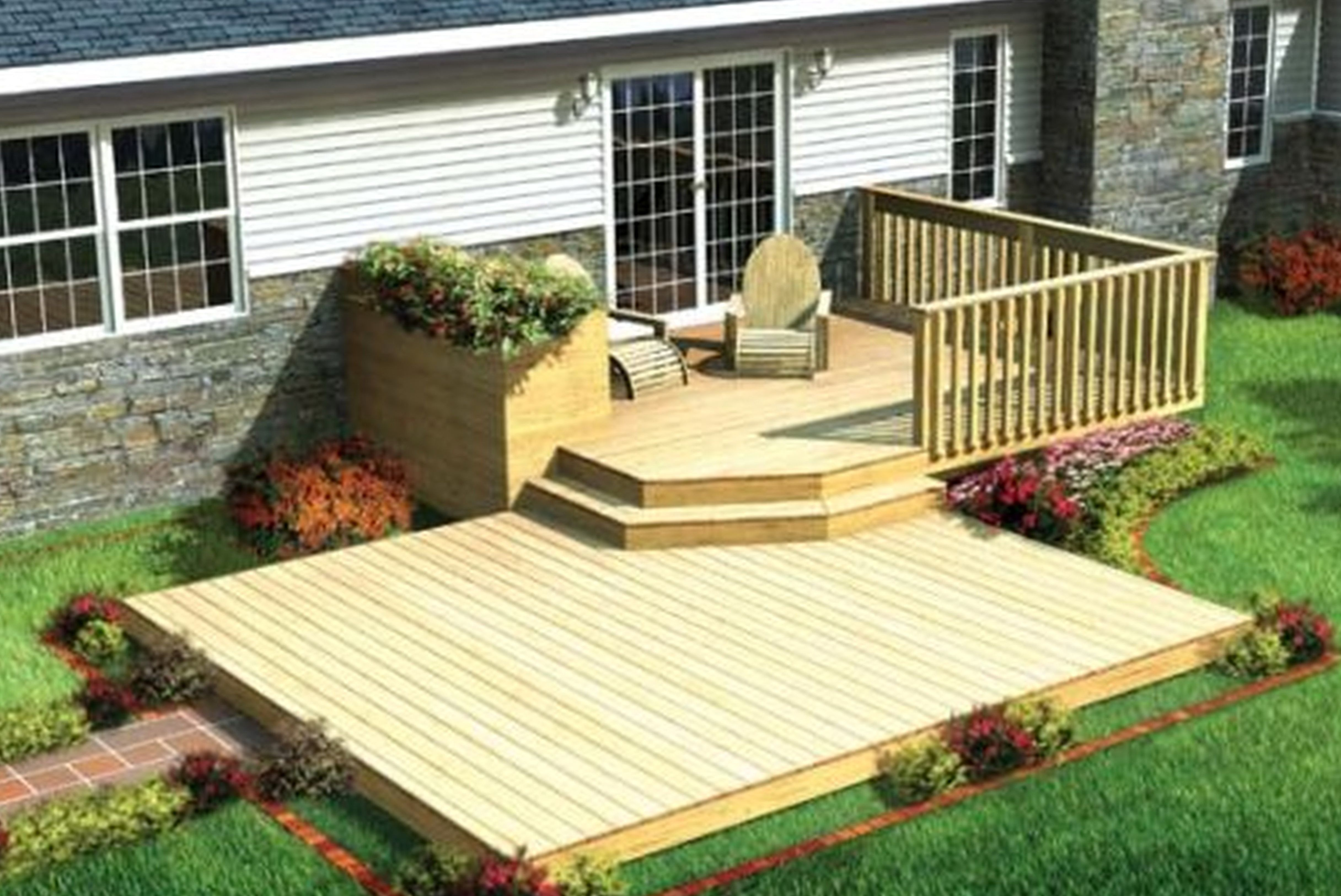 ground landscaping of decorating feature ideas living gardens size photos pati water backyards balcony spaces on patio deck a apartment outdoor patios decks for furniture small full cool budget floor and