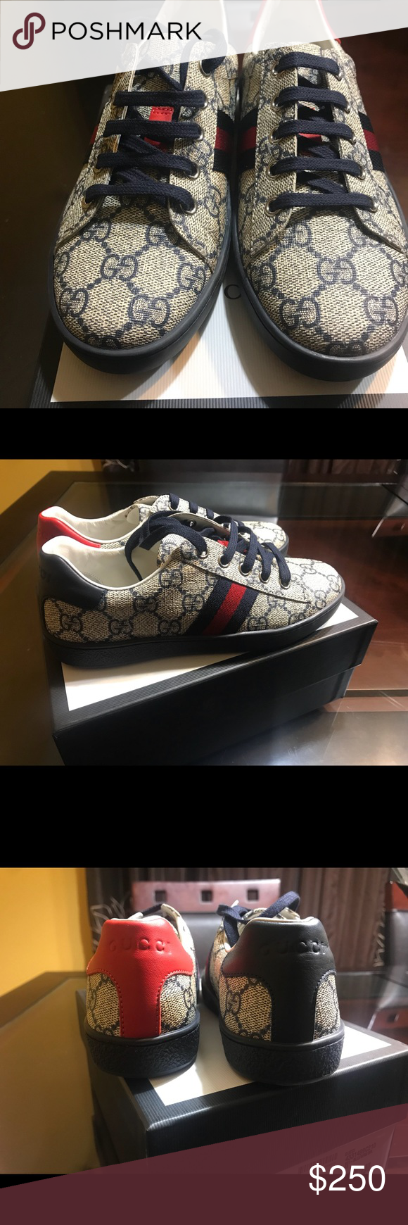 3fb4d8a2ac5 Kids Gucci GG Supreme low-top sneaker Brand new never worn. US SIZE 2 UK  SIZE 33 Gucci Shoes Sneakers