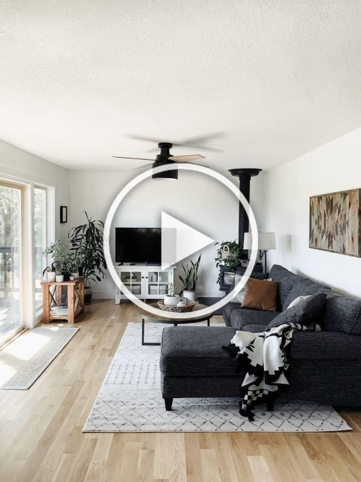 our family room remodel transforming a dated beige space into a modern fresh and functional space for our family in our new home Click through to see the before pics