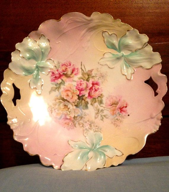 Antique RS PRUSSIA Pastel Floral Plate with Gold Trim- Perfect Condition- 10""