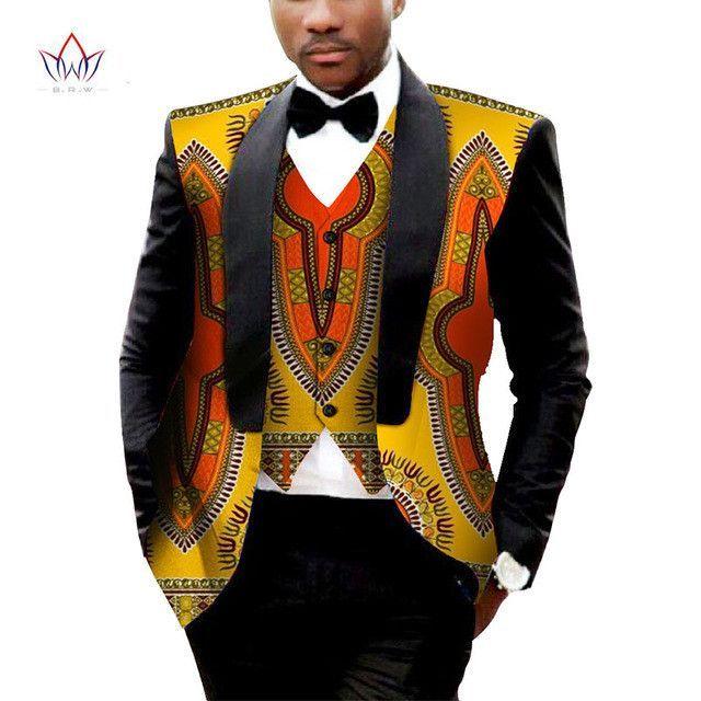 4922dc697 Brand Clothing African Clothes Mens Printed Blazer Men Jacket + Vest  Fashion Slim Suits Dashiki Men