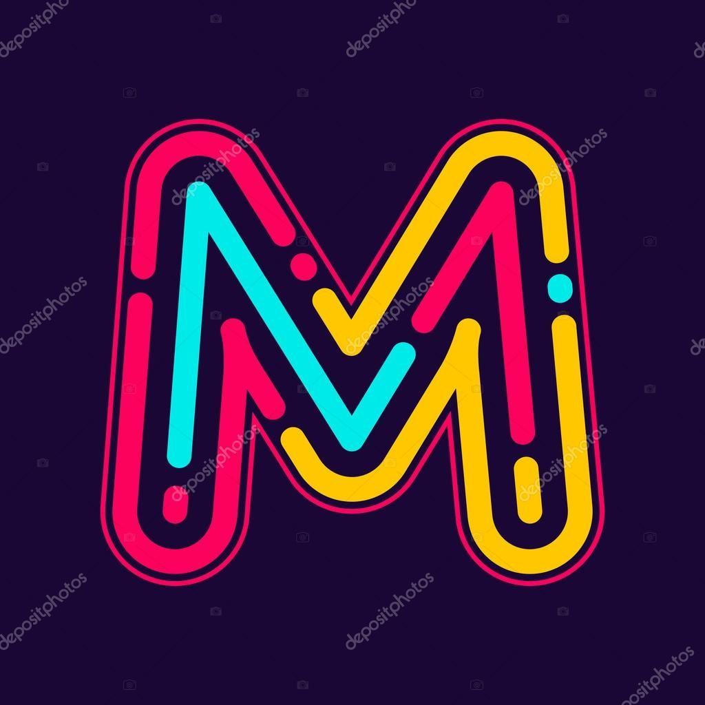 Descargar M letter logo with neon lines — Ilustración de