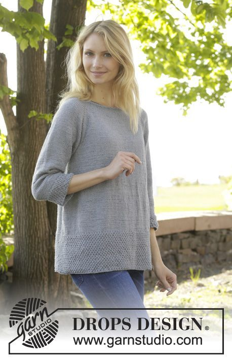 Knitted DROPS jumper with raglan and moss st worked top down in ...