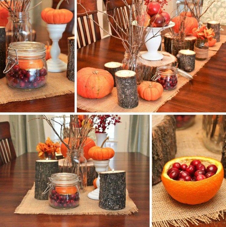 Herbstliche Tischdeko herbst deko tischdeko aeste beeren zweige aepfel deko herbst