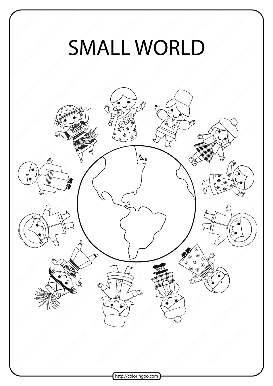 Printable Small World Pdf Coloring Page Coloring Pages Earth Coloring Pages Coloring Pages For Kids