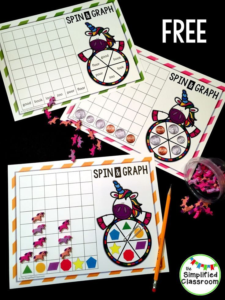Unicorn Spin and Graph Freebie | Spin, Activities and Math