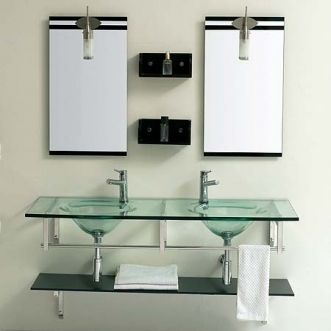 Best Photo Gallery Websites JJT Glass Double Sink Bathroom Vanity VG functional contemporary design