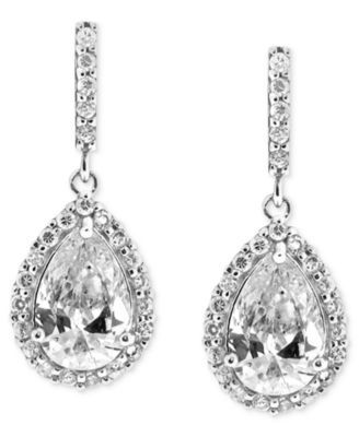 Giani Bernini Sterling Silver Earrings Cubic Zirconia Pave Teardrop 2 9