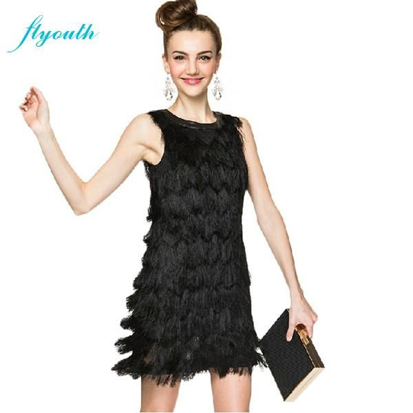 cool Flyouth Summer time Gown 2015 Brand new Style PU Patchwork To Neck of the guitar Sleeveless Strong Ladies Gown along with Tassel Adorable Small Gowns In addition Dimension